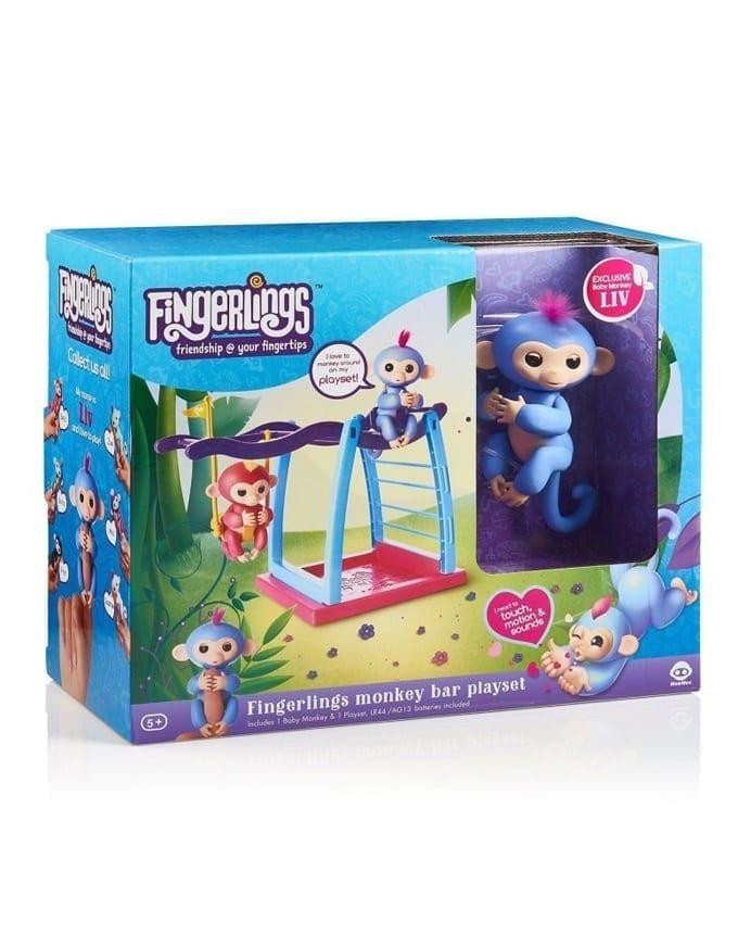 Fingerlings Playset  Monkey Bar Playground Liv the Baby Monkey Blue Pink Hair